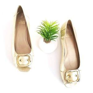 Stuart Weitzman Flats Gold Buckle Peep Toe Shoes